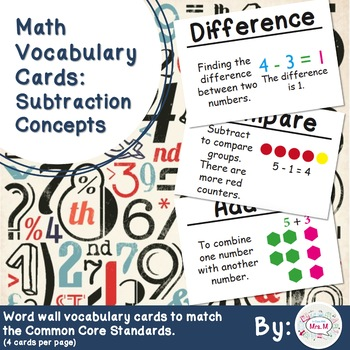 1st Grade Math Vocabulary Cards: Subtraction Concepts