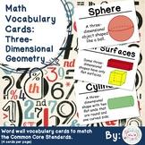1st Grade Math Vocabulary Cards: Three-Dimensional Geometry