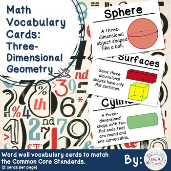 1st Grade Math Vocabulary Cards: Three-Dimensional Geometry (Large)