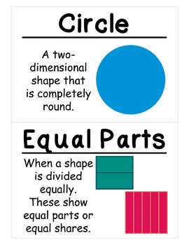 1st Grade Math Vocabulary Cards: Two-Dimensional Geometry (Large)