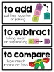 1st Grade Math Vocabulary Word Cards