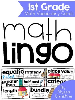 1st Grade Math Vocabulary Word Wall Cards