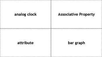 1st Grade Math Vocabulary Words (120 Cards)