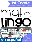 1st Grade Math Vocabulary in Spanish / Tarjetas de vocabulario para matemáticas