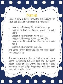 1st Grade Math Warm Ups and Exit Slips - Unit 2