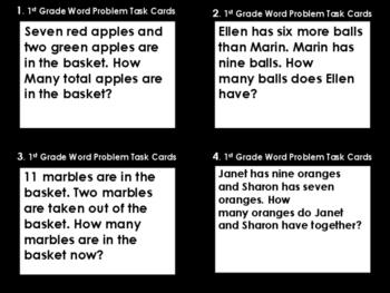 1st Grade Math Word Problem Task Cards (36 Task Cards) Ven