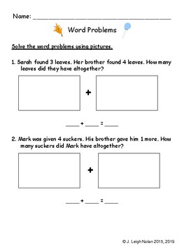 Word Problems & Addition Math Packet - Week 9