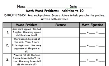 1st Grade Math Word Problems Addition to 10 by Krista Lynch | TpT