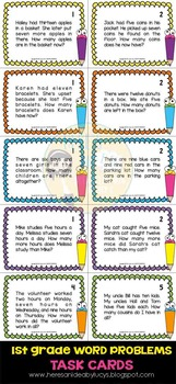 1st Grade Math Word Problems Task Cards