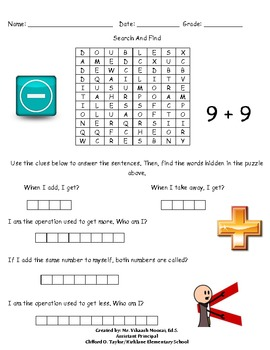 1st Grade Math Word Search