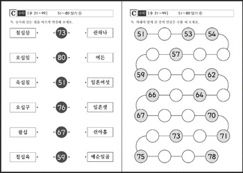 1st Grade Math Worksheet Packet in Korean