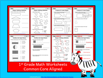 1st Grade Math Worksheets: 1st Grade Common Core Math Worksheets MEGA Bundle