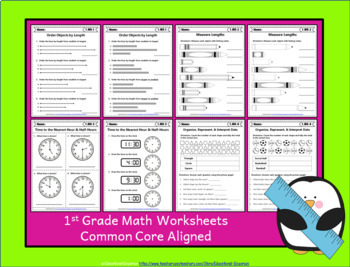 1st Grade Math Worksheets: 1st Grade Common Core Math Worksheets MEGA Bundle
