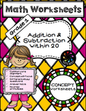 1st Grade Math Concept Worksheets on Addition and Subtraction within 20