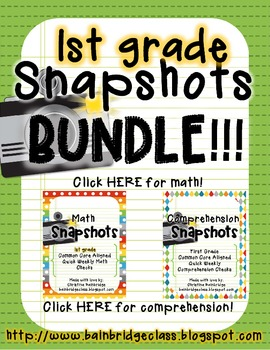 1st Grade Math and Comprehension Snapshots BUNDLE-  CCSS Aligned