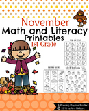 1st Grade Math and Literacy Printables - November