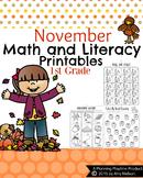 1st Grade Math and Literacy Printables - November