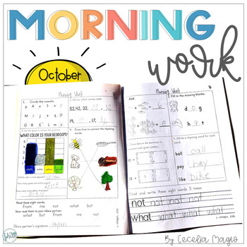 1st Grade Math and Literacy Common Core Morning Work October