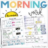 1st Grade Math and Literacy Common Core Morning Work Novem
