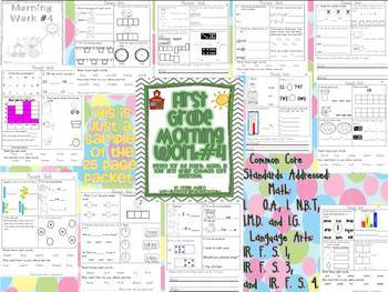 1st Grade Math and Literacy Common Core Morning Work Months 1-5 of School
