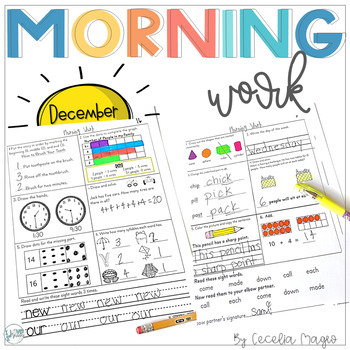 1st Grade Math and Literacy Common Core Morning Work December - January