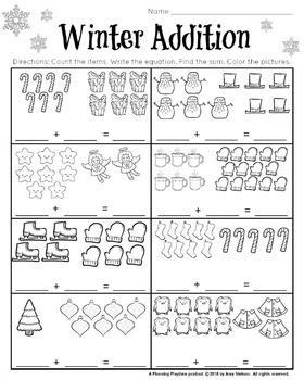 1st Grade Math and Literacy Printables - December FREEBIE