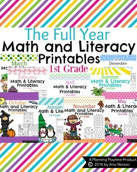 1st Grade Math and Literacy Printables - The Full Year