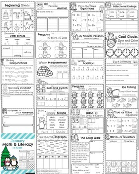 1st Grade Math and Literacy Printables - The Full Year Bundle