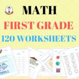 FIRST GRADE MATH BUNDLE  FIRST DAY OF SCHOOL  FUN MATH CENTERS  TESTS NO PREP120