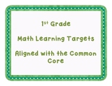 1st Grade Mathematics Common Core Learning Target Posters