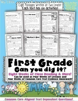 1st Grade May Close Reading & Text Evidence (Mother's Day, Memorial Day, & More)