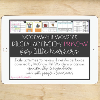 1st Grade McGraw-Hill Wonders Digital Activities for Google Classroom PREVIEW