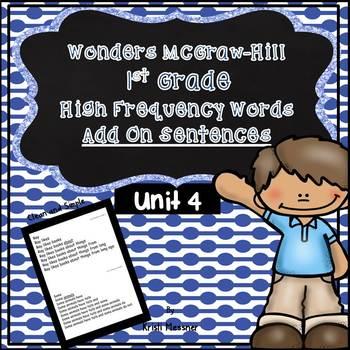 1st Grade McGraw Hill-Wonders Unit 4 Add On Sentences