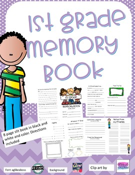 1st Grade Memory Book - 8 page slit book