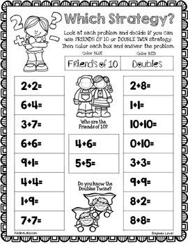 1st Grade Mental Math Strategies Interactive Packet