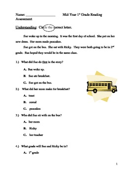 1st Grade Mid-Year Reading Assessment
