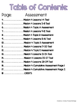 1st Grade Mission 4 Lessons 1-29 Assessments to help with Zearn