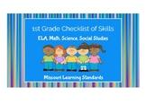 1st Grade Missouri Learning Standards Checklist of Skills: BUNDLE- all subjects