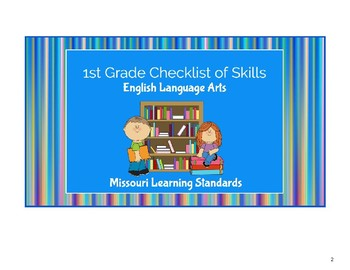 1st Grade Missouri Learning Standards Checklist of Skills: BUNDLE- all subjects