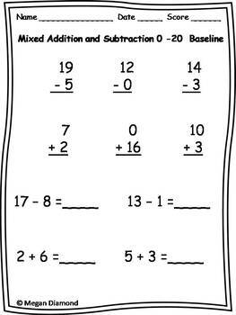 1st Grade Mixed Addition and Subtraction through 20 Progress Monitoring