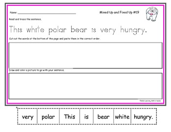 Sentence Scrambles~Mixed Up & Fixed Up with Tracing~Literacy Activity