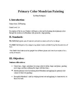 1st Grade Mondrian Primary Color Lesson