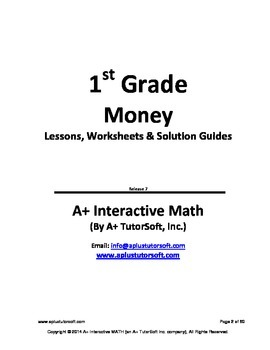 1st Grade Money Lessons, Worksheets, Solution Manuals
