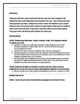 1st Grade Money Unit Post-Test..Common Core Standards