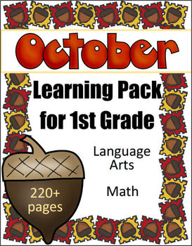 1st Grade Monthly Learning Pack - October