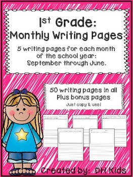 1st Grade Monthly Writing Pages