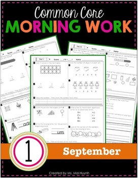 1st Grade Morning Work: September