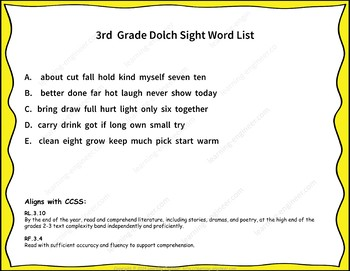 Dolch Sight Word Searches