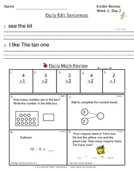 1st Grade Morning Work | 1st Grade Daily Spiral Review (Kinder-Review Unit)