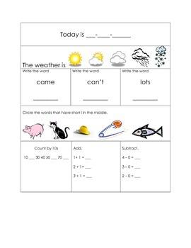 1st Grade Morning Work Packet